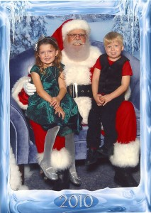 My kids with Santa at the Mall at Wellington Green, 2010